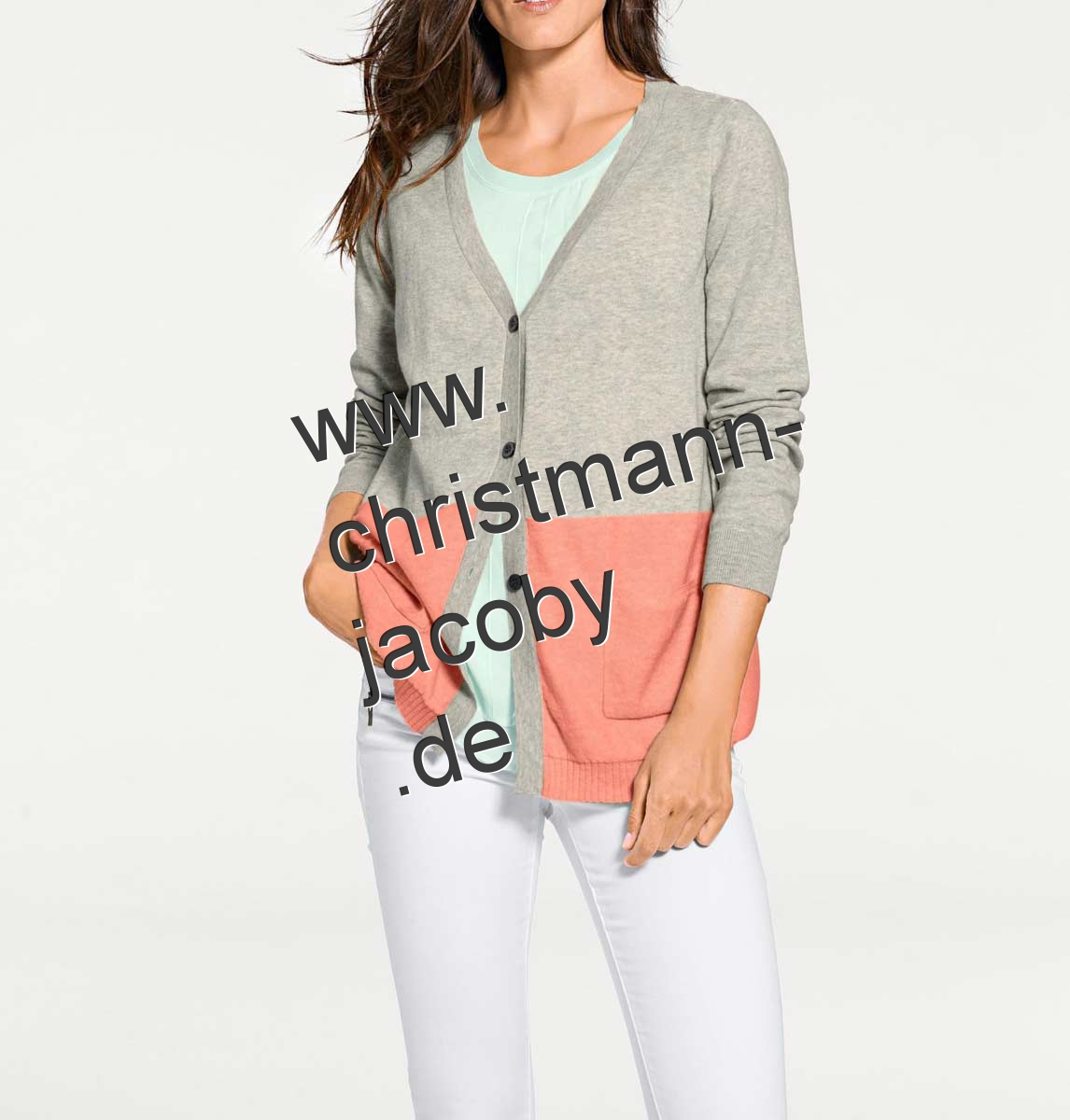 Cashmere cardigan, grey-apricot