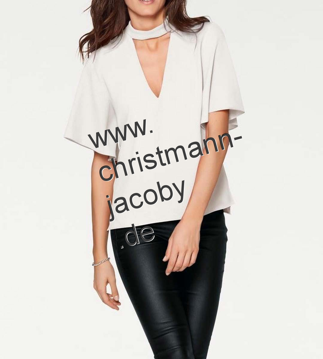 Blouse with cut-out, offwhite