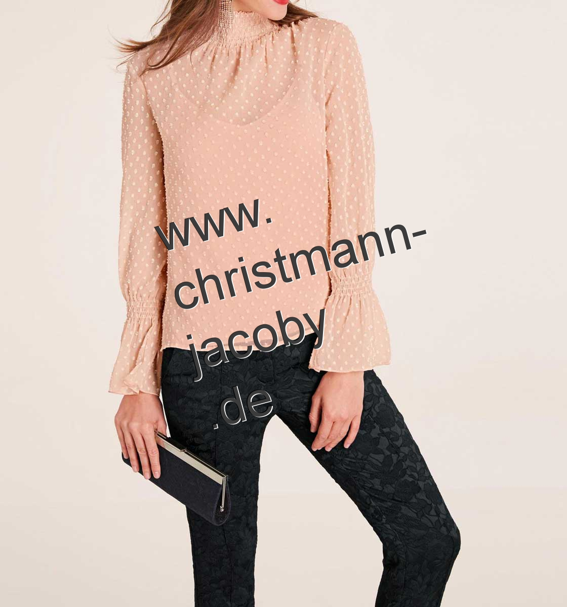 Chiffon blouse with top, rosé