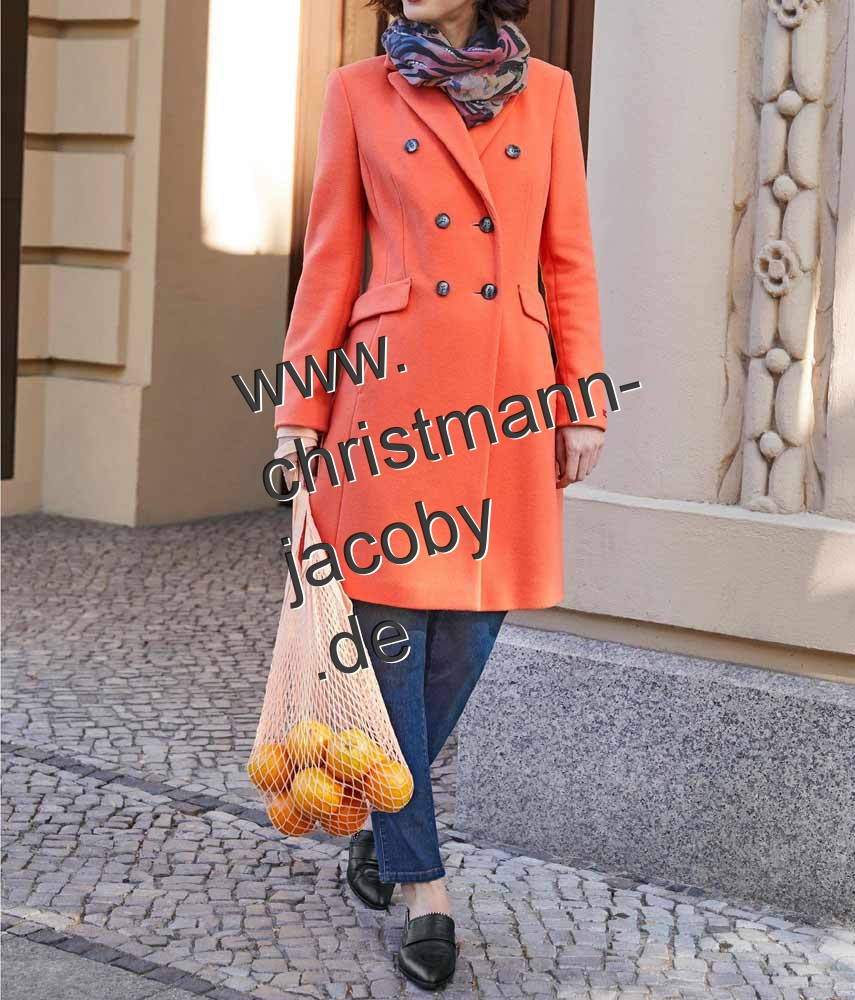 Fleece coat with cashmere, orange