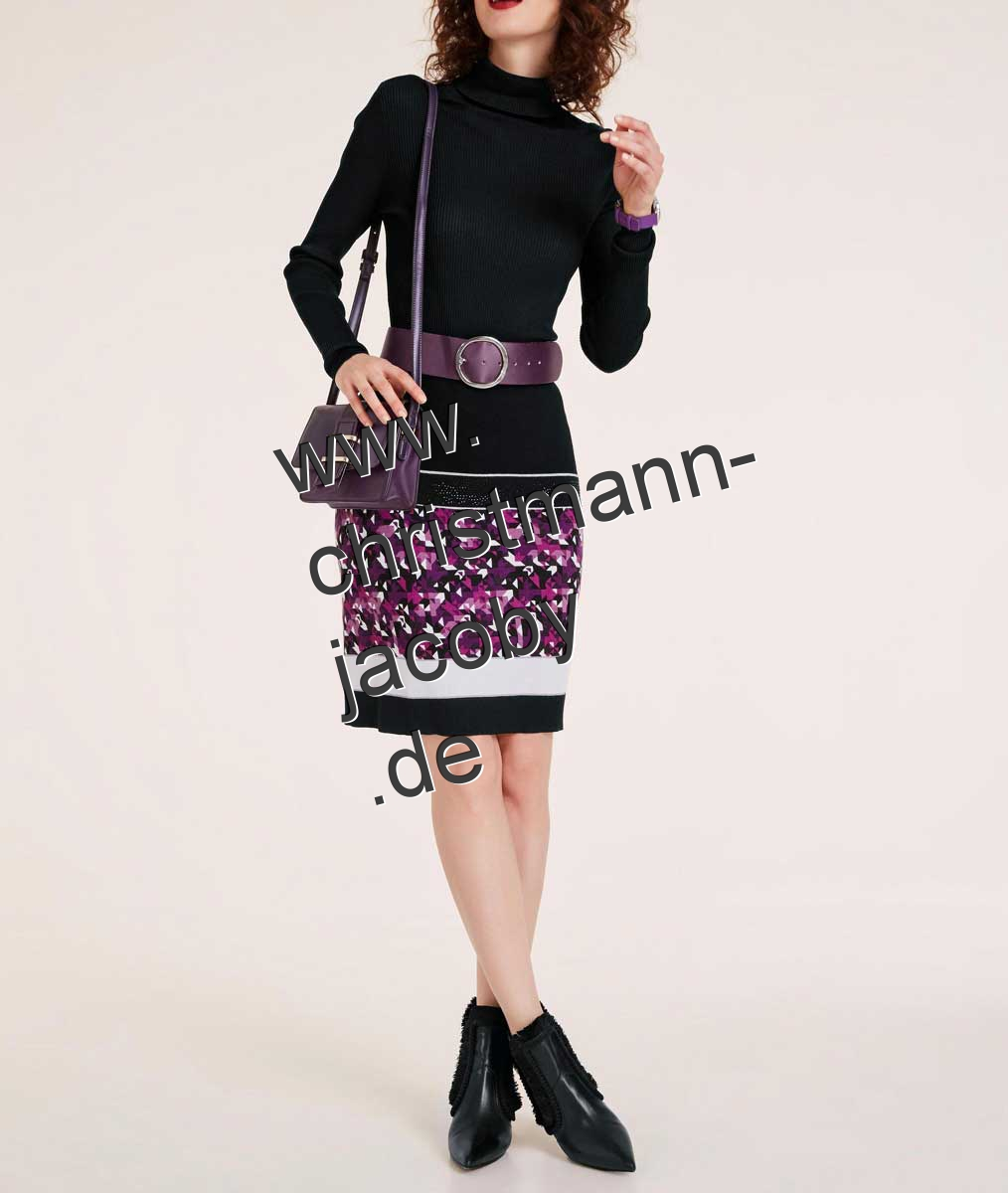 Knit skirt with strass, black-purple-multicolour