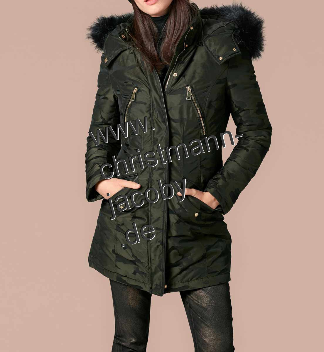 Military parka with weave collars, olive