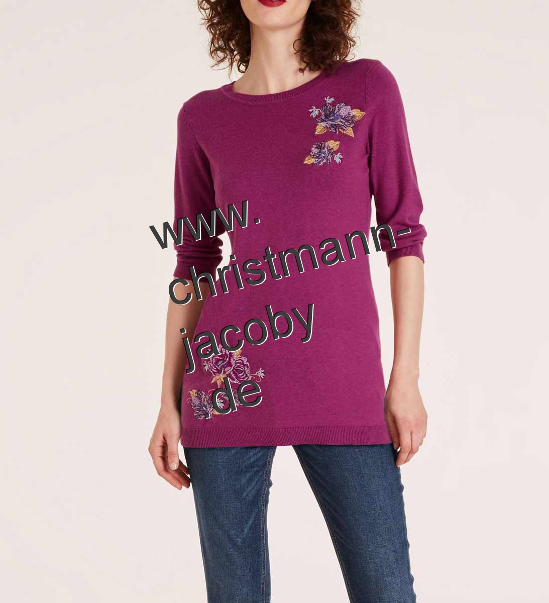 Knit sweater with embroidery, berry