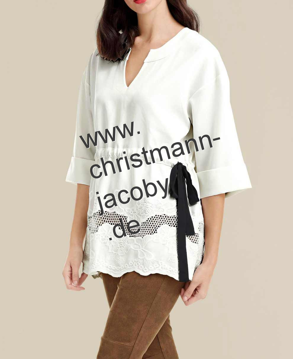 Tunic shirt with embroidery, offwhite