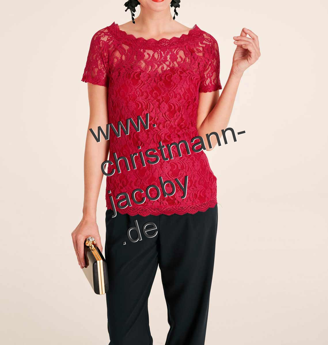 Lace shirt, red