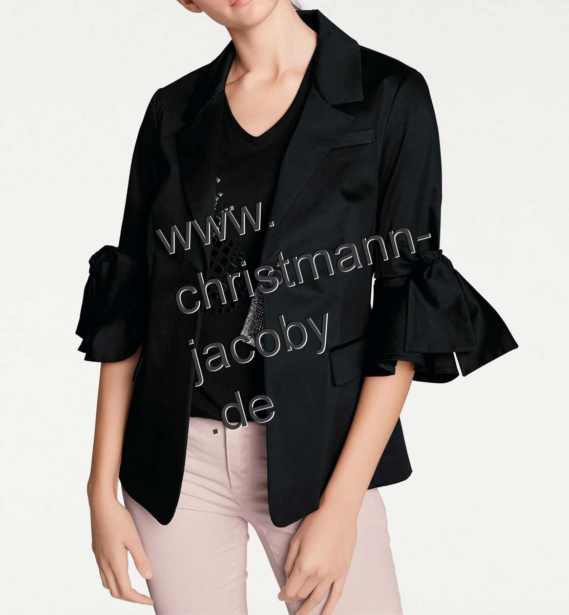 Blazer with ribbons, black